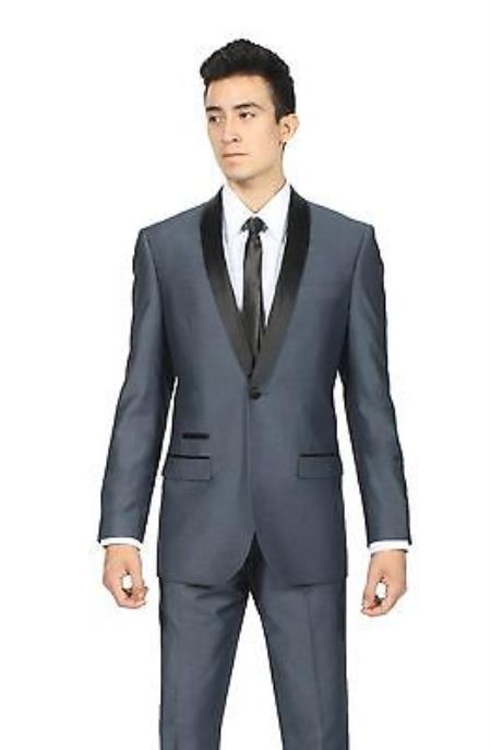 Midnight Navy Blue Shawl Collar Slim Fit 2 Piece Tuxedo Suit