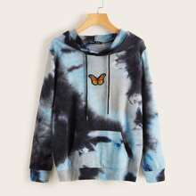Tie Dye Butterfly Patched Drawstring Hoodie
