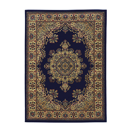 Castello Cora Traditional Medallion Area Rug, One Size , Blue