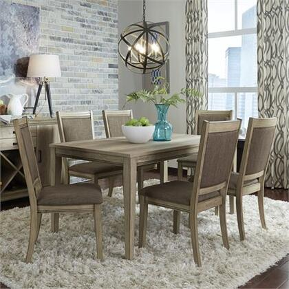 Sun Valley Collection 439-DR-O7RLS 7PC Rectangular Table Set with 6x Uph Side Chair and 1 Rectangular Leg Table in Sandstone