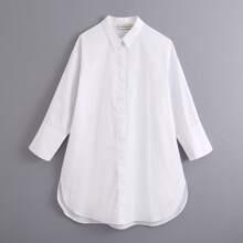 Weiss Geteilt  Einfarbig Laessig Blusen