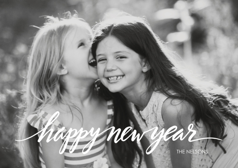 New Year's Photo Cards 5x7 Cards, Premium Cardstock 120lb with Scalloped Corners, Card & Stationery -Script New Year