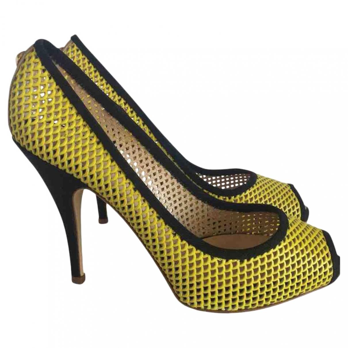 Giuseppe Zanotti \N Yellow Leather Heels for Women 37 IT