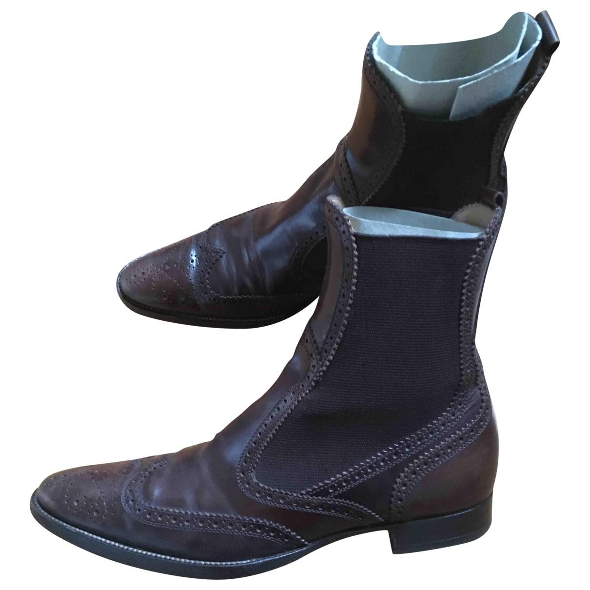Dolce & Gabbana - Boots   pour femme en cuir - marron
