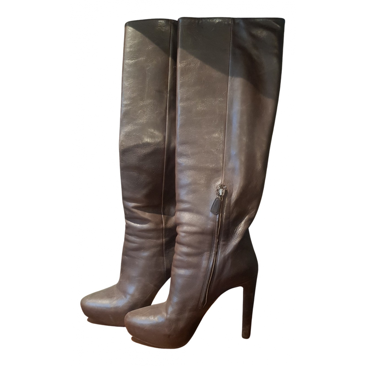 Prada N Brown Leather Boots for Women 38 EU