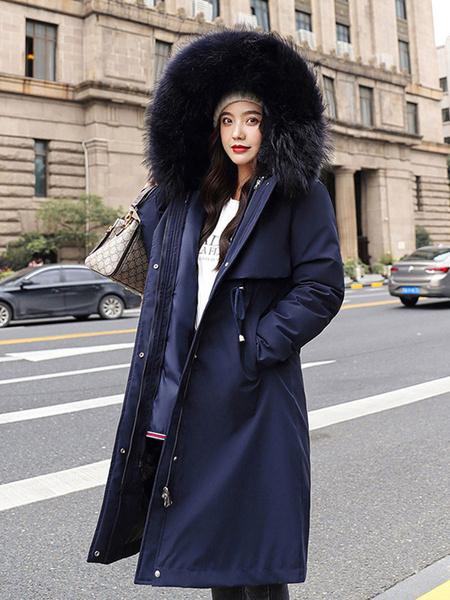 Milanoo Escudo de la manga mujeres Parka Abrigos de piel falsa de largo con capucha desmontable con cordon largo invierno