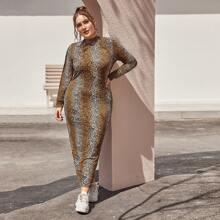 Kleid mit Schlitz, Leopard Muster ohne Tasche