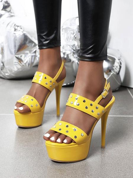 Milanoo High Heel Sexy Sandals Black Patent PU Upper Round Toe Sexy Shoes