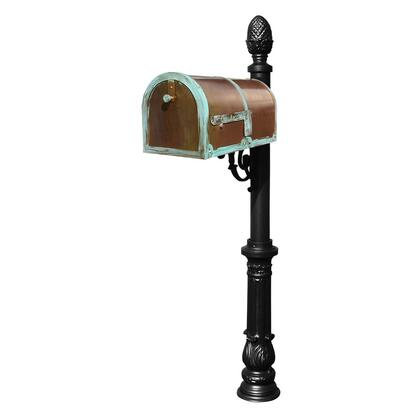 MB-3000-PAT-LP703-BL Provincial Collection Brass Mailbox in Antique Brass Patina with decorative Lewiston post  Ornate base and #3 Pineapple finial