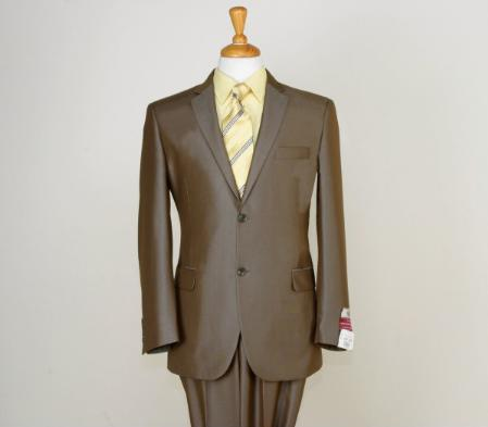 Shiny Satin Metallic Bright Sharkskin 2 Button Style Brown