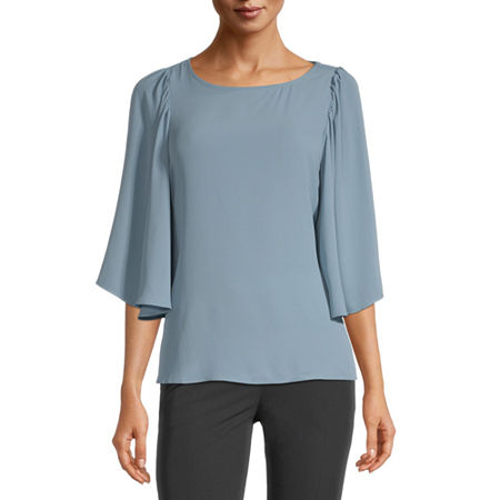 Worthington Womens Round Neck 3/4 Sleeve Blouse, Large , Blue