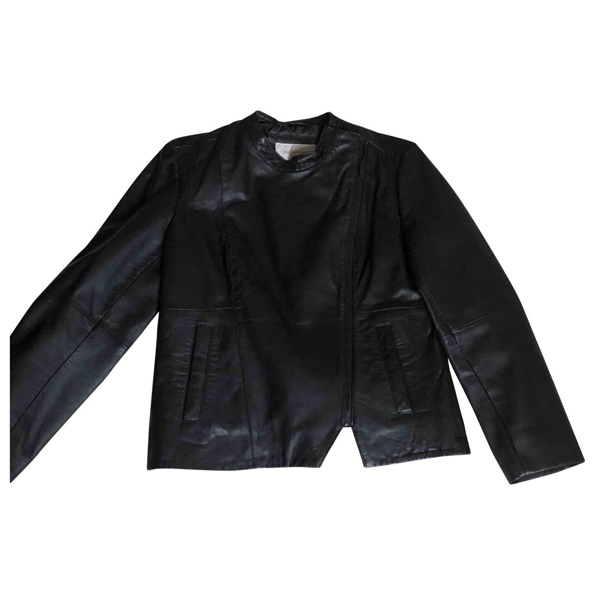 Calvin Klein - Blouson   pour femme en cuir - noir