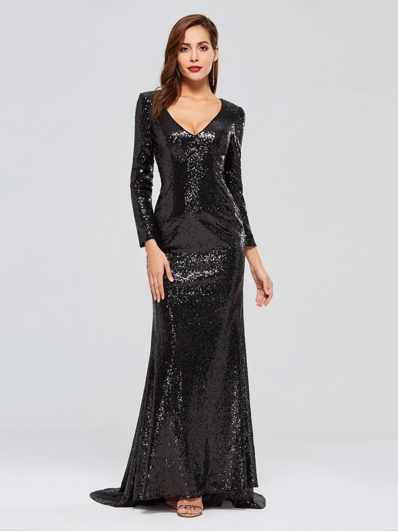 Ericdress Long Sleeve Black Sequins Evening Dress