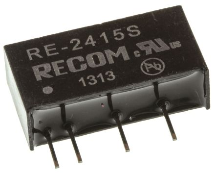 Recom RE 1W Isolated DC-DC Converter Through Hole, Voltage in 21.6 → 26.4 V dc, Voltage out 15V dc