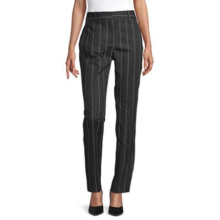 Liz Claiborne Womens Mid Rise Regular Fit Ankle Pant, 10 , Black
