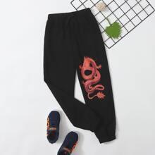 Jungen Jogginghose mit chinesischer Drache Muster und schaegen Taschen
