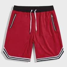 Men Drawstring Waist Zip Detail Striped Athletic Shorts