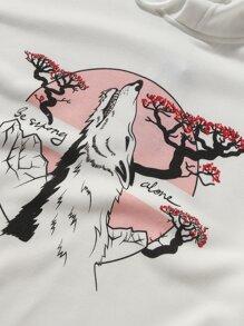 Guys Wolf And Scenery Print Hooded Sweatshirt