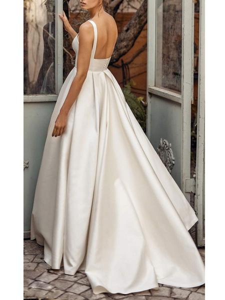 Milanoo Vestidos de novia de epoca Cuello cuadrado Sin mangas Cintura natural Saten Tela Corte Tren Faja Vestido de novia