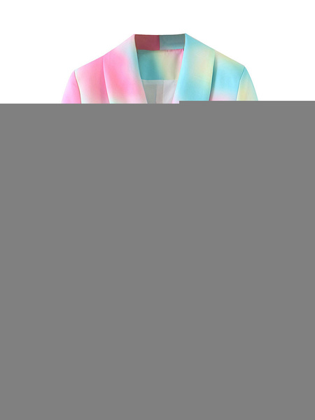 Milanoo Blazer For Women Tie Dye Turndown Collar Long Sleeve Cotton Blazers