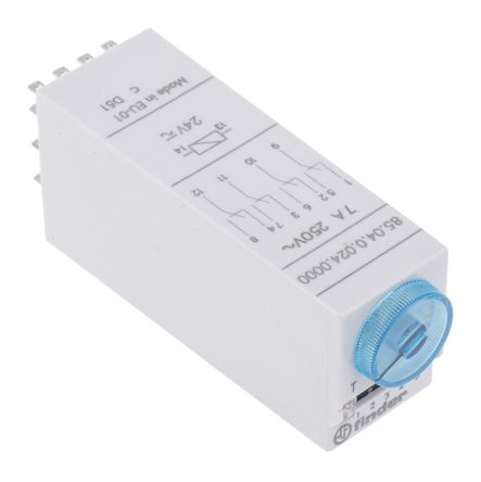 Finder 4PDT Multi Function Timer Relay - 0.05 → 100 s, 3 → 100 min, 5 → 100 h, 4 Contacts, Plug In