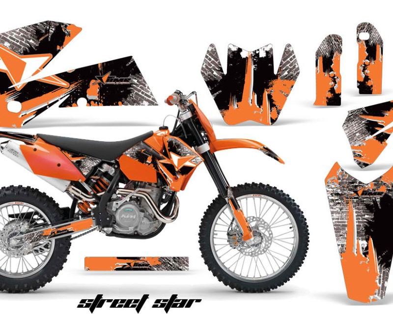 AMR Racing Dirt Bike Decal Graphic Kit Wrap For KTM EXC/SX/MXC?/SMR/XCF-W 2005-2007áSTREET STAR ORANGE