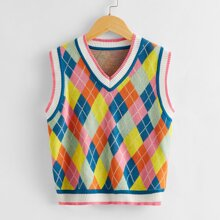 Girls V Neck Argyle Sweater Vest
