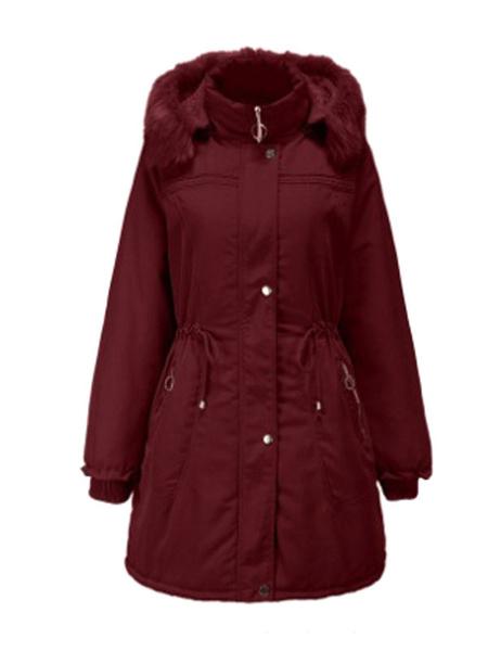 Milanoo Parka Coat For Women Deep Blue Hooded Long Sleeve Drawstring Casual Winter Coats
