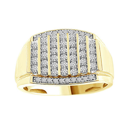Mens 1/2 CT. T.W. Genuine White Diamond 10K Gold Fashion Rings, 12 , No Color Family
