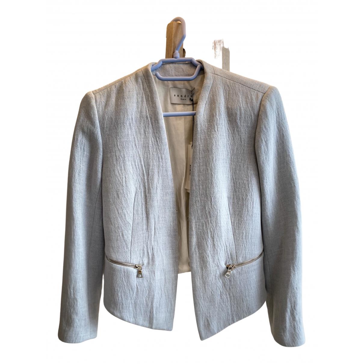 Sandro N Blue Linen jacket for Women 36 FR