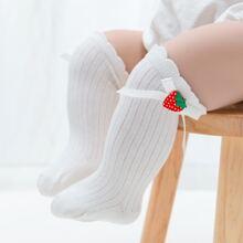 Baby Lange Socken mit Erdbeere Dekor