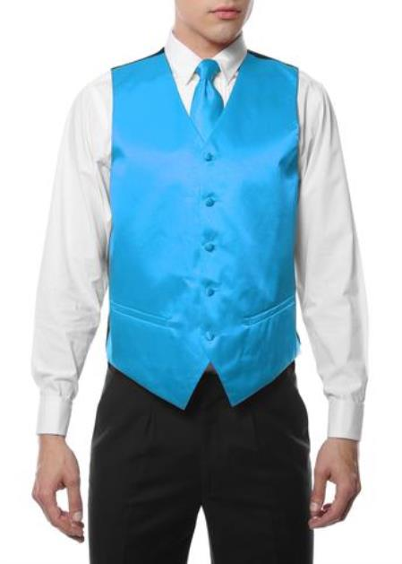 Mens 4PC Big and Tall Vest & Tie & Bow Tie and Hankie Turquoise