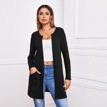 Mantel mit offener Vorderseite und Taschen Flicken