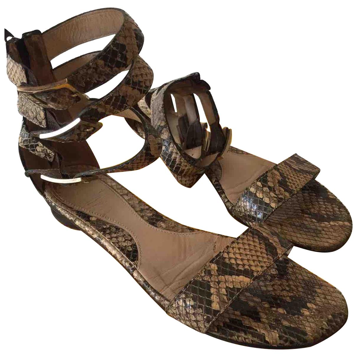 Fendi - Sandales   pour femme en python - beige