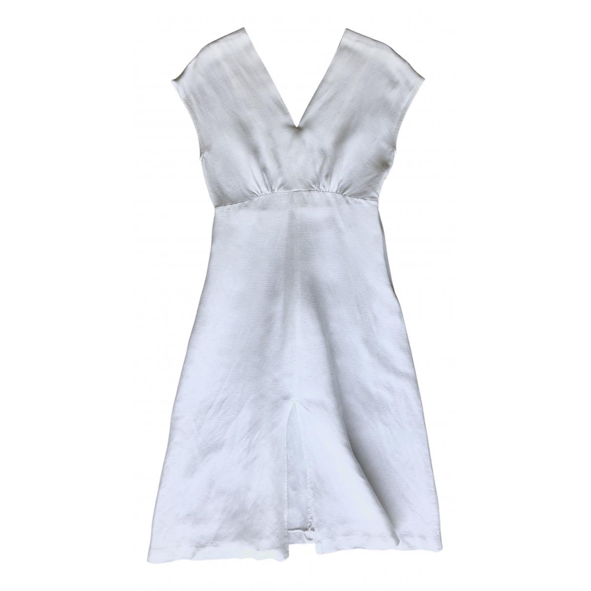 Massimo Dutti \N Kleid in  Weiss Leinen