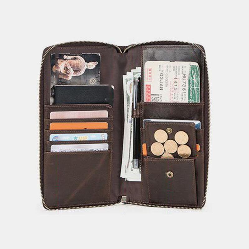 Men Genuine Leather Multi-slots Retro Money Clip 6.5 Inch Phone Holder Coin Purse Wallet
