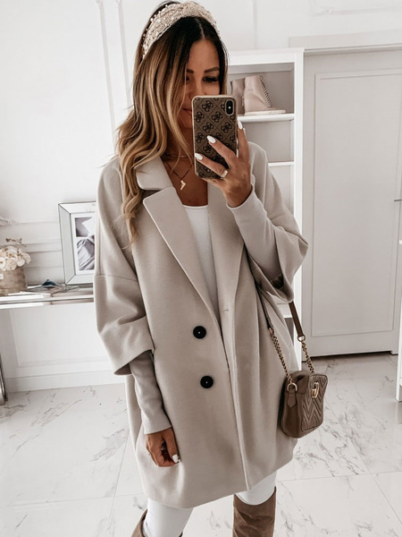 Milanoo Women\'s Coat Turndown Collar Buttons Polyester Casual White Winter Faux Fur Coat