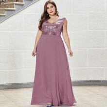 Figurbetontes Chiffon Kleid mit Pailletten