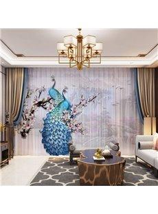 3D Rural Style Peacock and Wintersweet Printed Decorative 2 Panels Custom Sheer