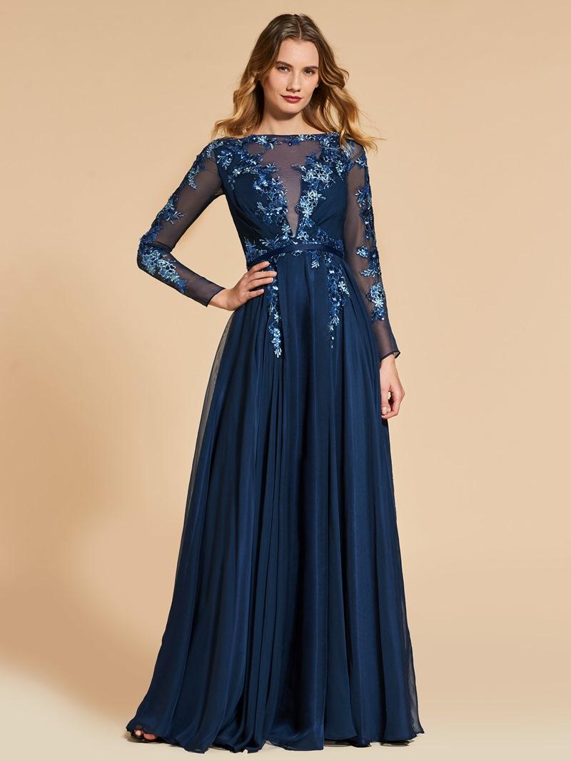 Ericdress A Line Long Sleeve Sequin Applique Long Evening Dress