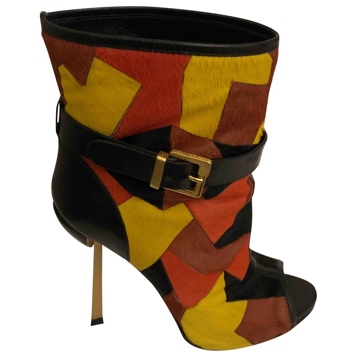 Sergio Rossi \N Multicolour Pony-style calfskin Ankle boots for Women 39.5 EU