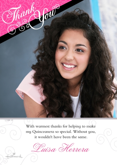 Quinceanera 5x7 Cards, Standard Cardstock 85lb, Card & Stationery -Thank You - Pink & Black