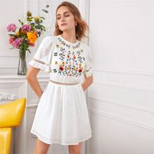 Floral Embroidered Lace Trim Dress