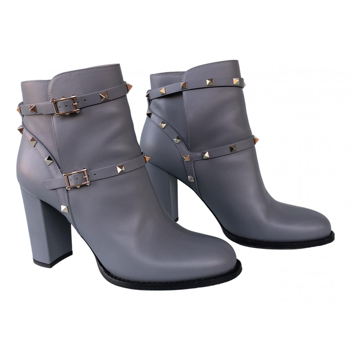 Valentino Garavani - Boots Rockstud pour femme en cuir