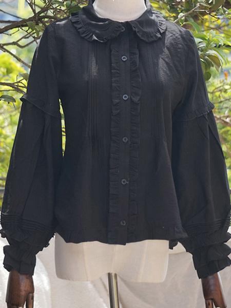 Milanoo Presale Lolitashow Sweet Lolita Blouses Pleated Lolita Top Long Sleeves Lolita Shirt