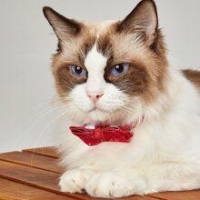 Katze Halsband mit Weihnachten Schneeflocke Muster und Schleife Dekor