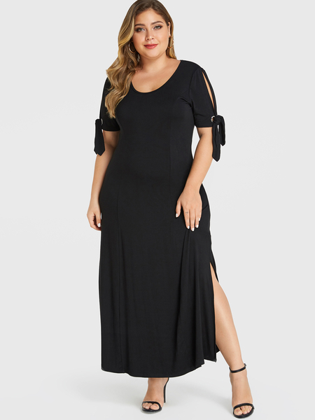 YOINS Plus Size Black Self-tie Design Cold Shoulder Short Sleeves Dress