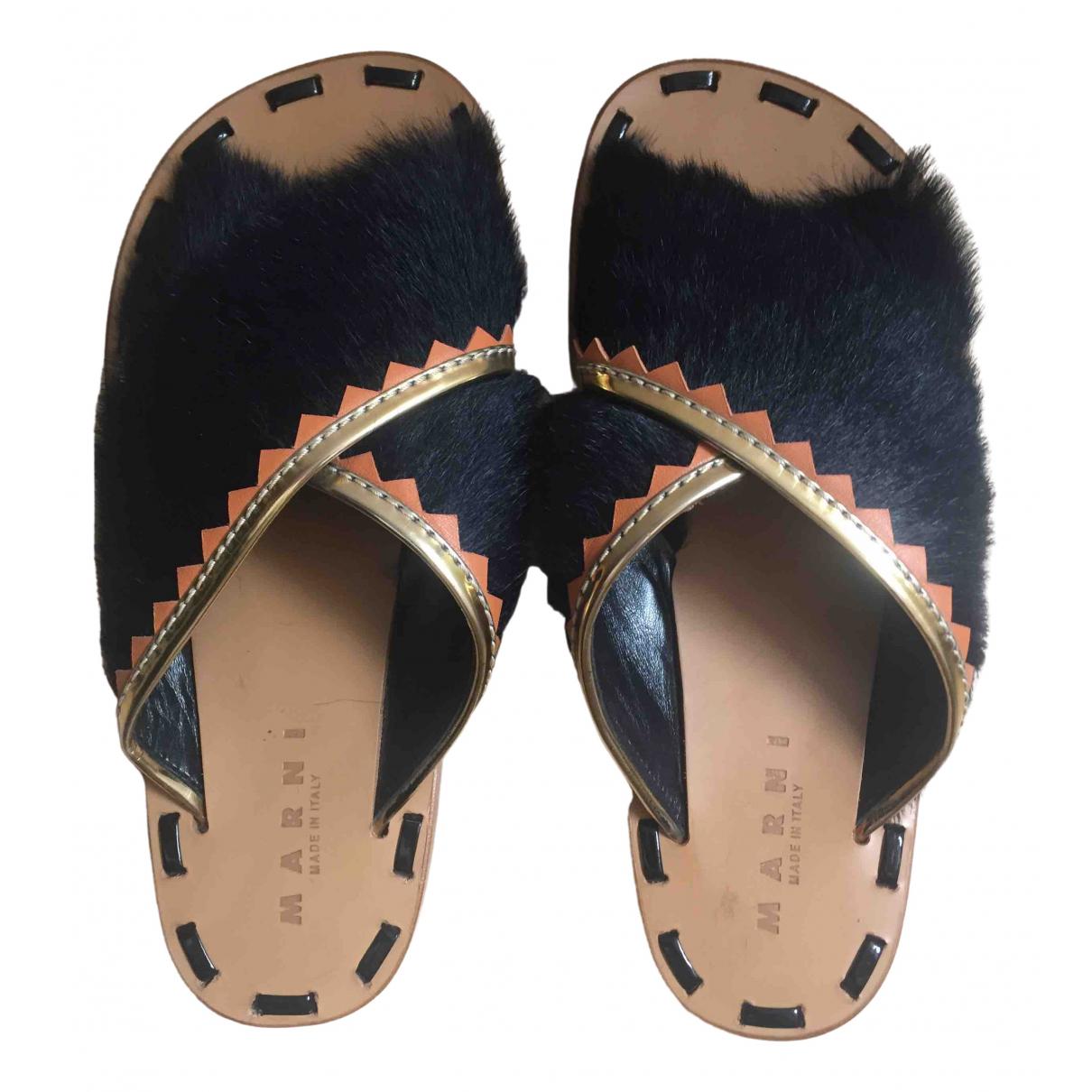 Marni \N Black Pony-style calfskin Sandals for Women 40 EU