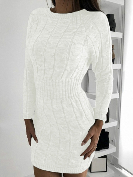 Yoins Cable Knit Round Neck Long Sleeves Dress