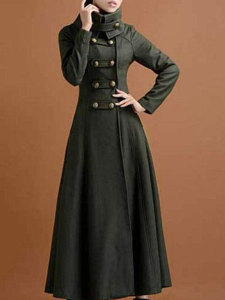 Milanoo Green Maxi Coat High Collar Buttons Casual Oversized Hunter Woman\'s Outerwear